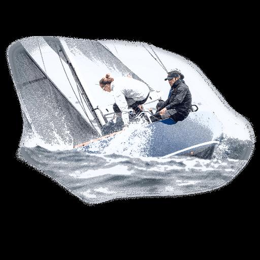 Crucero de regata navegando